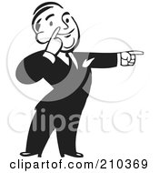 Royalty Free RF Clipart Illustration Of A Retro Black And White Businessman Pointing To The Right