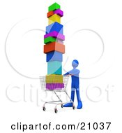 Clipart Illustration Of A Blue Person Pushing A Shopping Cart Stacked High With Boxes
