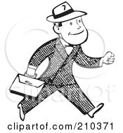 Royalty Free RF Clipart Illustration Of A Retro Black And White Businessman Carrying A Briefcase