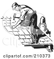 Royalty Free RF Clipart Illustration Of A Retro Black And White Male Roofer by BestVector #COLLC210373-0144