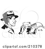Royalty Free RF Clipart Illustration Of A Retro Black And White Businessman Dropping Mail In A Box