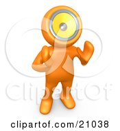 Clipart Illustration Of An Orange Person With A Loud Speaker Head Hollering Or Playing Music by 3poD