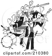 Royalty Free RF Clipart Illustration Of A Retro Black And White Band Of Bass Drum Sax And Violin Players by BestVector