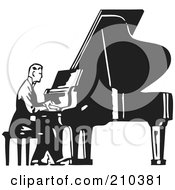 Royalty Free RF Clipart Illustration Of A Retro Black And White Man Seated And Playing A Piano by BestVector