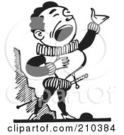 Royalty Free RF Clipart Illustration Of A Retro Black And White Male Opera Singer