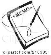 Royalty Free RF Clipart Illustration Of A Retro Black And White Pen Over A Memo by BestVector