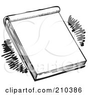 Royalty Free RF Clipart Illustration Of A Retro Black And White Note Pad by BestVector