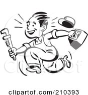 Royalty Free RF Clipart Illustration Of A Retro Black And White Plumber Or Handy Man Running With Tools