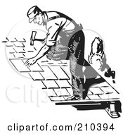 Royalty Free RF Clipart Illustration Of A Retro Black And White Roofer Installing Shingles by BestVector