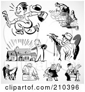 Royalty Free RF Clipart Illustration Of A Digital Collage Of Retro Black And White Industrial Workers