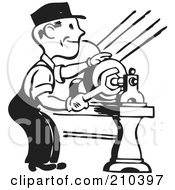 Royalty Free RF Clipart Illustration Of A Retro Black And White Man Tightening