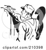 Royalty Free RF Clipart Illustration Of A Retro Black And White Man Painting
