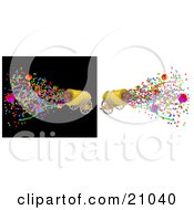 Clipart Illustration Of A Golden Party Cannon Shooting Out Confetti Provided On White And Black Backgrounds