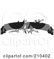 Royalty Free RF Clipart Illustration Of A Retro Black And White Banner With Leaves