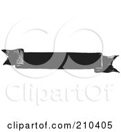 Royalty Free RF Clipart Illustration Of A Retro Black And White Banner With Folded Edges