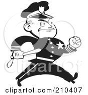 Royalty Free RF Clipart Illustration Of A Retro Black And White Policeman Walking With A Baton