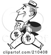 Royalty Free RF Clipart Illustration Of A Retro Black And White Man Carrying Two Money Bags