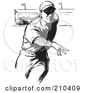 Royalty Free RF Clipart Illustration Of A Retro Black And White Baseball Pitcher Throwing by BestVector
