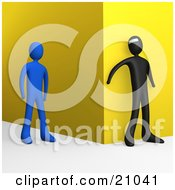 Clipart Illustration Of A Bad Person Waiting Around A Corner To Attack An Approaching Blue Person