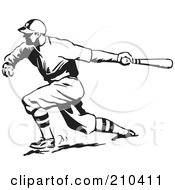 Royalty Free RF Clipart Illustration Of A Retro Black And White Baseball Player Batting by BestVector