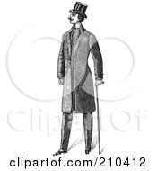 Royalty Free RF Clipart Illustration Of A Retro Black And White Gentleman Standing In A Suit 3