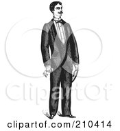 Royalty Free RF Clipart Illustration Of A Retro Black And White Gentleman Standing In A Suit 4