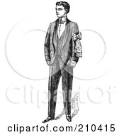 Royalty Free RF Clipart Illustration Of A Retro Black And White Gentleman Standing In A Suit 2
