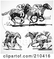 Digital Collage Of Retro Black And White Horse Races