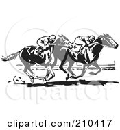 Royalty Free RF Clipart Illustration Of A Retro Black And White Horse Race