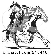 Royalty Free RF Clipart Illustration Of Retro Black And White Racing Horses