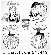 Royalty Free RF Clipart Illustration Of A Digital Collage Of Retro Black And White Couples An Angel And Successful People