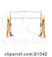 Blank Banner Sign Post Being Held By Two Orange People Wearing Party Hats