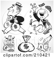 Royalty Free RF Clipart Illustration Of A Digital Collage Of Rich Men Money Sacks And A Piggy Bank