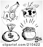 Royalty Free RF Clipart Illustration Of A Digital Collage Of A Money Sack Piggy Banks And Coins