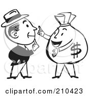 Royalty Free RF Clipart Illustration Of A Retro Black And White Man Talking To A Money Bag by BestVector