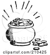 Royalty Free RF Clipart Illustration Of A Retro Black And White Pot Of Coins