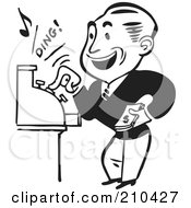 Royalty Free RF Clipart Illustration Of A Retro Black And White Man Operating A Cash Register