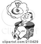 Royalty Free RF Clipart Illustration Of A Retro Black And White Man Dreaming Of Money