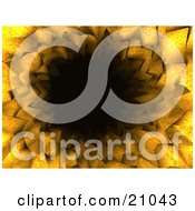 Clipart Illustration Of A Black Tunnel Through An Orange Floral Background