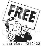 Royalty Free RF Clipart Illustration Of A Retro Black And White Man Carrying A Free Sign by BestVector
