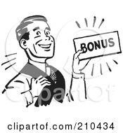 Royalty Free RF Clipart Illustration Of A Retro Black And White Man Carrying A Bonus by BestVector