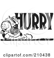 Royalty Free RF Clipart Illustration Of A Retro Black And White Man Running On A Hurry Advertisement