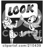 Royalty Free RF Clipart Illustration Of A Retro Black And White Woman And Man On A Look Advertisement by BestVector