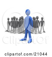 Clipart Illustration Of A Bold Blue Person Standing Out Away From A Crowd Of Gray People