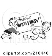 Royalty Free RF Clipart Illustration Of Retro Black And White Men Carrying A Were Moving Sign by BestVector