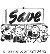 Royalty Free RF Clipart Illustration Of A Retro Black And White Crowd With A Save Sign by BestVector