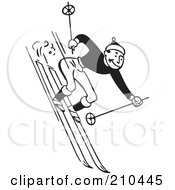 Retro Black And White Man Skiing Downhill