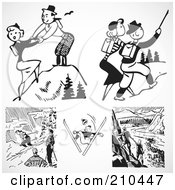 Digital Collage Of Retro Black And White Sporty People Outdoors