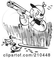 Royalty Free RF Clipart Illustration Of A Retro Black And White Man In Reeds Shooting At Ducks by BestVector