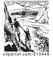 Royalty Free RF Clipart Illustration Of A Retro Black And White Couple Hiking And Viewing A Valley by BestVector
